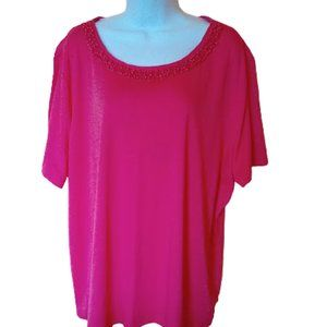 Bright Salmon Pink Top Tee 3X  (24 Wide)